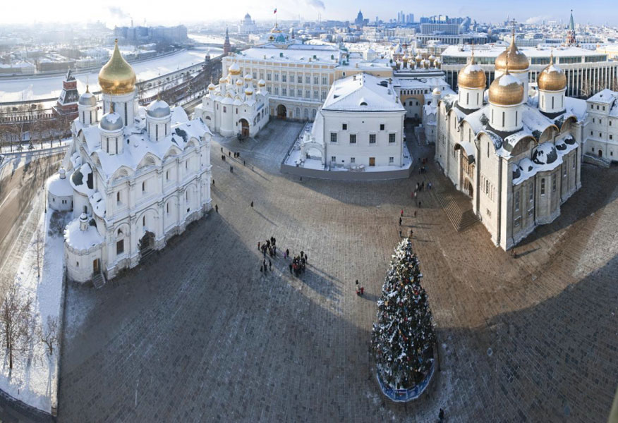 The Annunciation Cathedral as a part of the ensemble of the Cathedral Square. View from the Ivan the Great Bell-Tower.